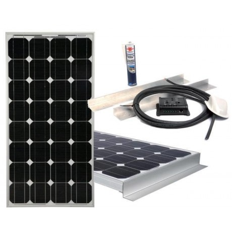 equipement 12v camping car kit panneau solaire 120w complet. Black Bedroom Furniture Sets. Home Design Ideas